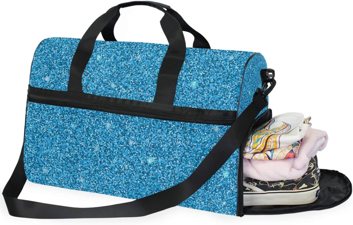 ALAZA Stylish Blue Glitter Stars Sports Gym Duffel Bag Travel Luggage Handbag Shoulder Bag with Shoes Compartment for Men Women