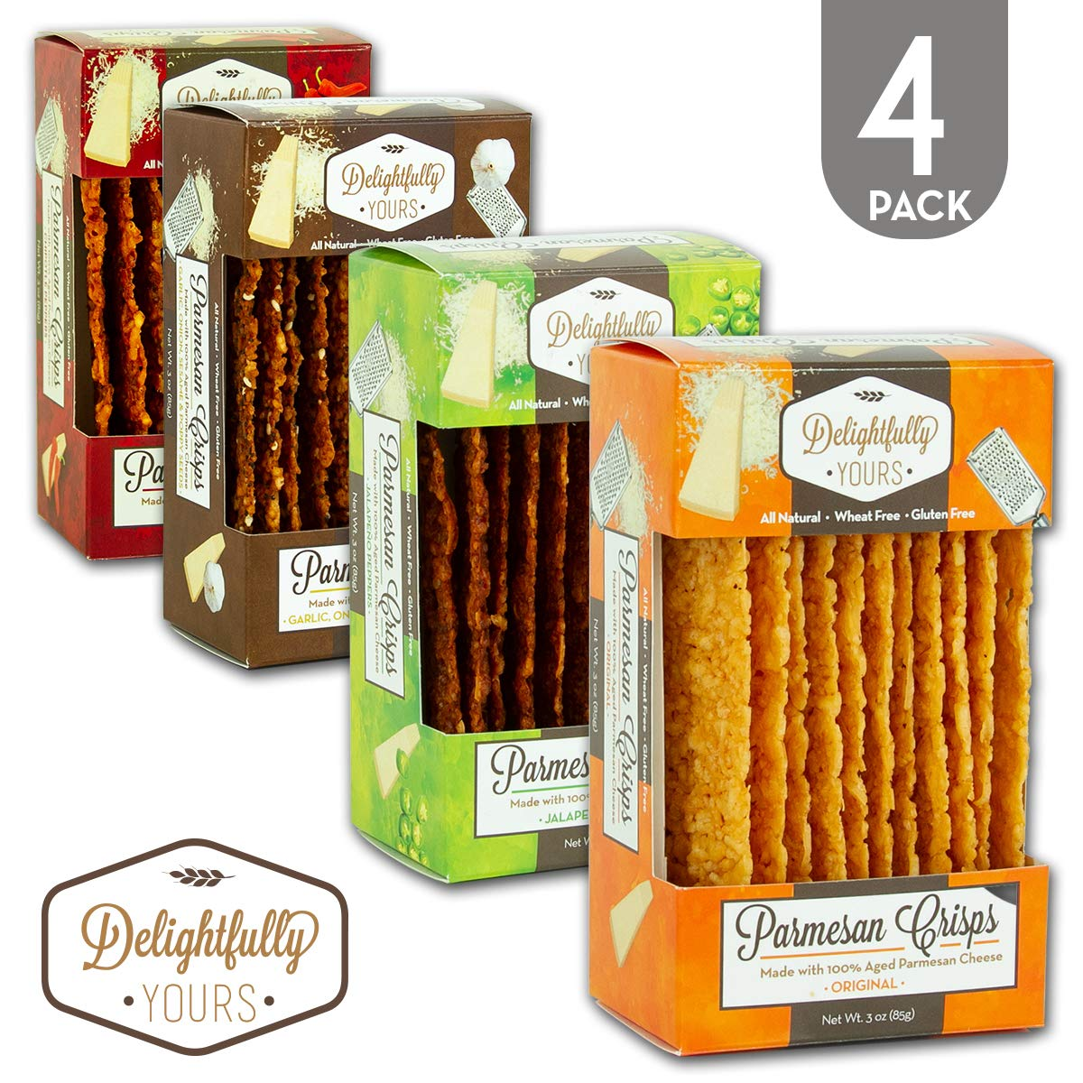 Delightfully Yours: Low Carb Parmesan Cheese Crisps {VARIETY PACK} 100% aged - Flavorful Handmade - Keto Friendly Snack - All Natural - Wheat Free - Gluten Free - Protein Packed 12 OZ (4 PACK)