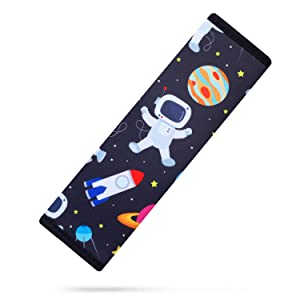 YR Seat Belt Cover for Kids, Soft Comfort Seat Belt Cushion for Children, Cute Cartoon Pattern Car Seat Belt Pads Cover for Girls and Boys, 1 Pack, Spaceman