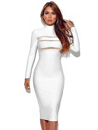 3fc49a3592fe Rumor Apparel Mock Neck Long Sleeve Bandage Dress (Medium) at Amazon ...