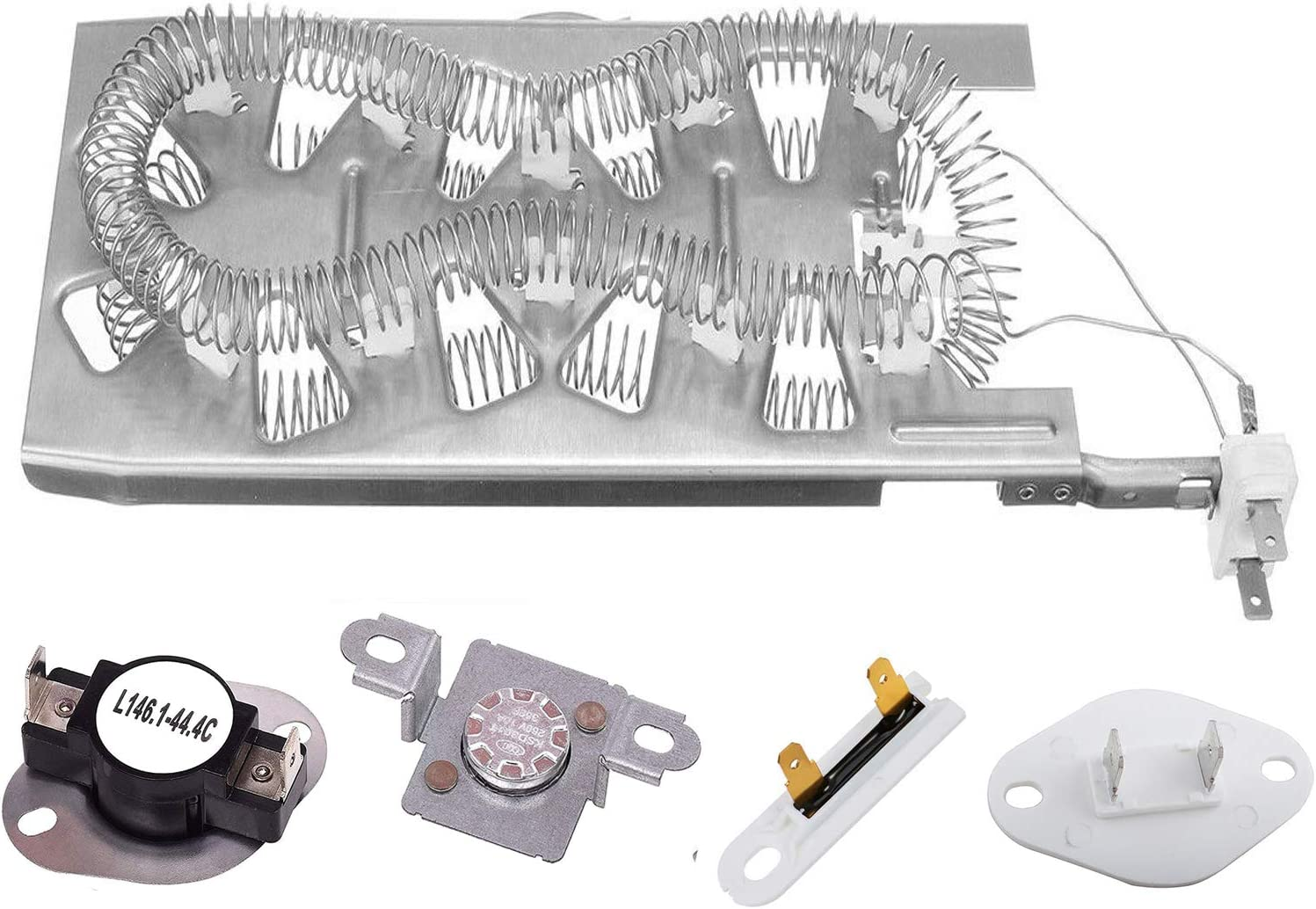 3387747 & 279973 & 3392519 & 8577274 Duet Dryer Heating Element Thermal Cut Off Kit with Thermistor & Thermal Fuse Compatible with Kenmore, Samsung, Whirlpool electric dryers