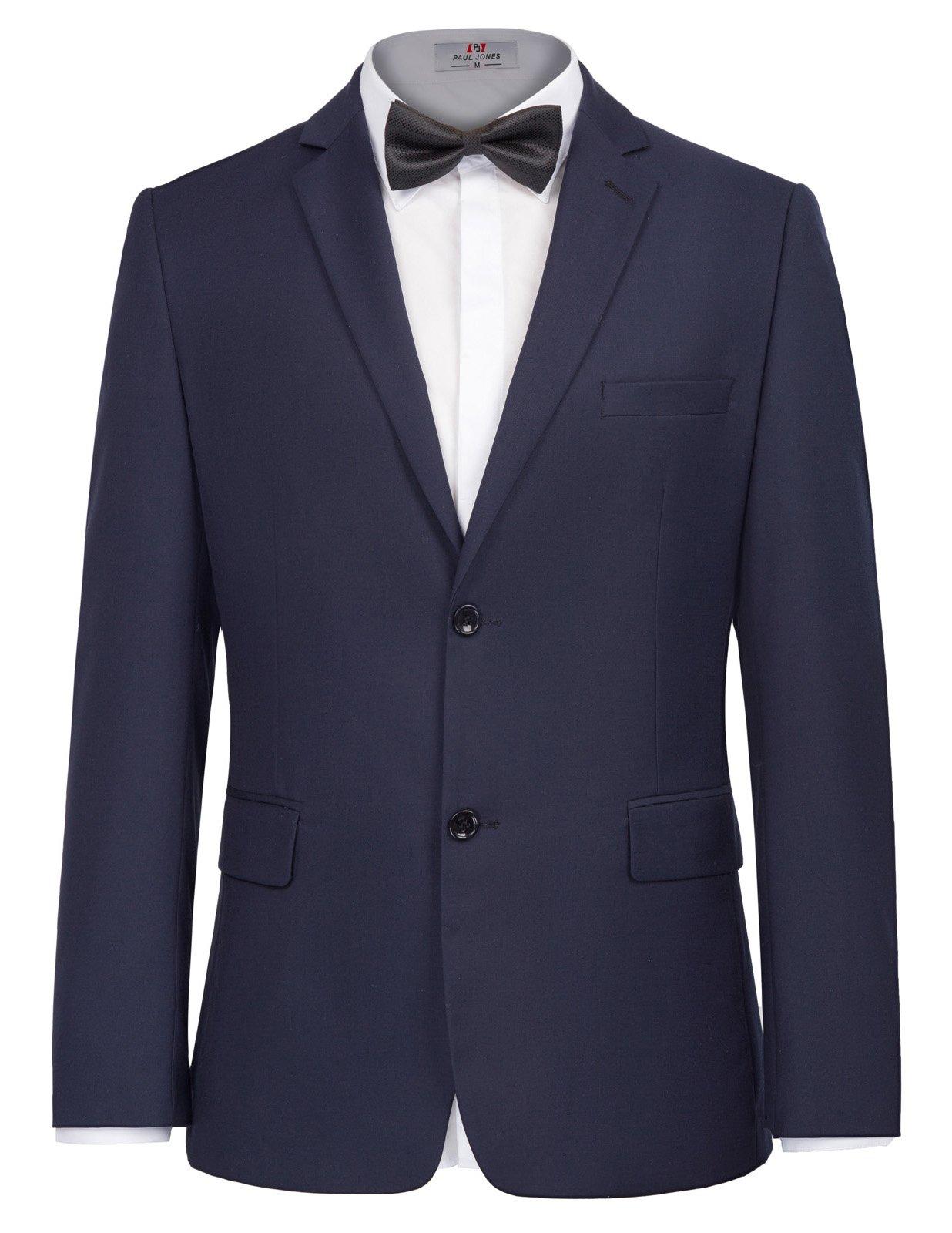 PAUL JONES Men's Classic Fit Dress Suits 2 Piece Suits Notch Lapel for Dance Party