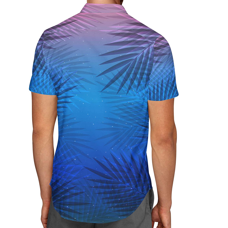 Tropical Night Palm Tree Mens Button Down Short Sleeve Shirt