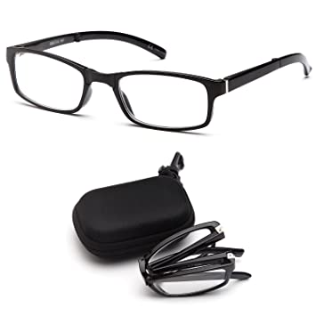 8864ad9f1259 DOUBLETAKE 2 Pairs Foldable Readers Reading Glasses in Portable Zip Cases  with Clip for Men and