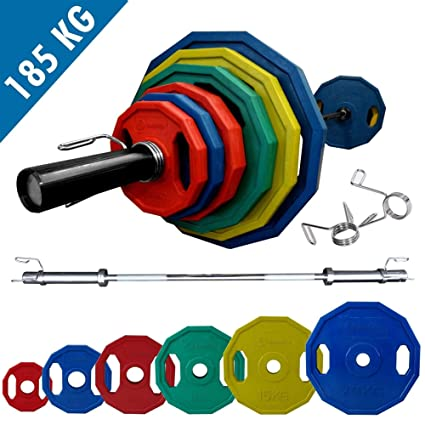 Juego de pesas olímpico BodyRip netproship poligonal de 185 kg pesos con 213,36 cm