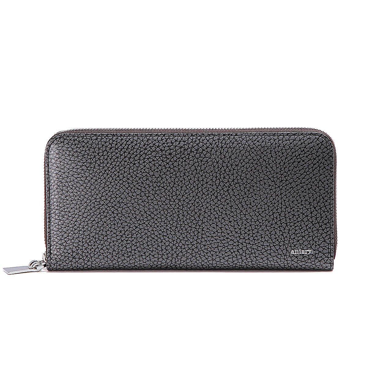 アニアリ 長財布 ラウンドL Zip Bill Holder Grind Leather 15-20003 B07DT3WZY8 ブラック ブラック