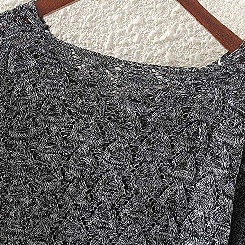 Women's Sweater, Women's Hollow Out Bat Long Sleeve Loose V Collar Sweater (Dark Gray, Free) by SOUND JUNKU (Image #4)