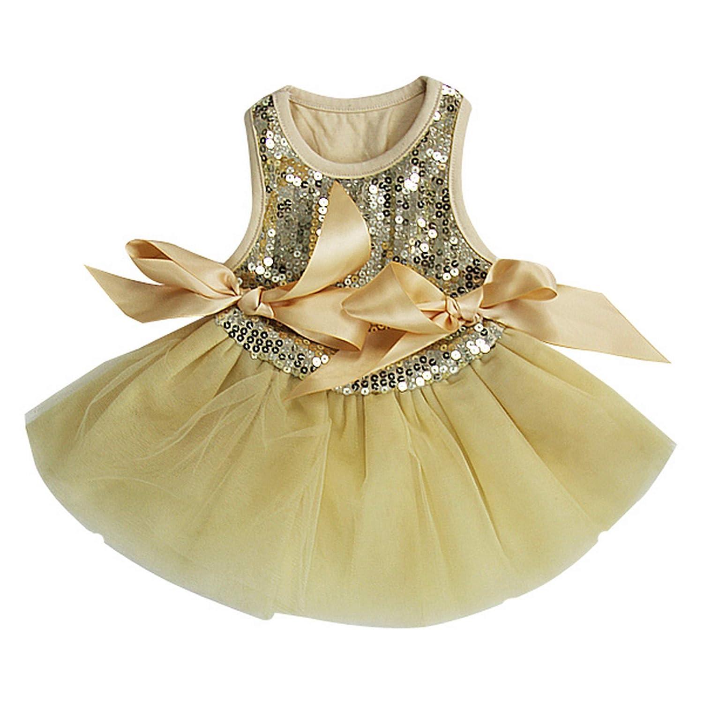 L Kirei Sui Sparkle PETS Tutu Dress Large goldenrod