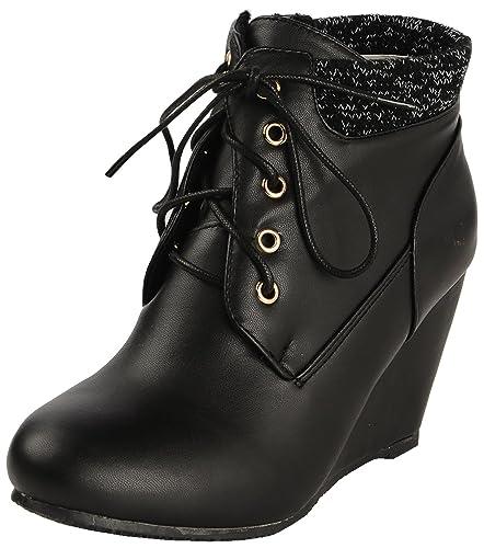 eae7c003 Flat n Heels Women's Black Synthetic Ankle Length Boots, EU 41: Buy ...