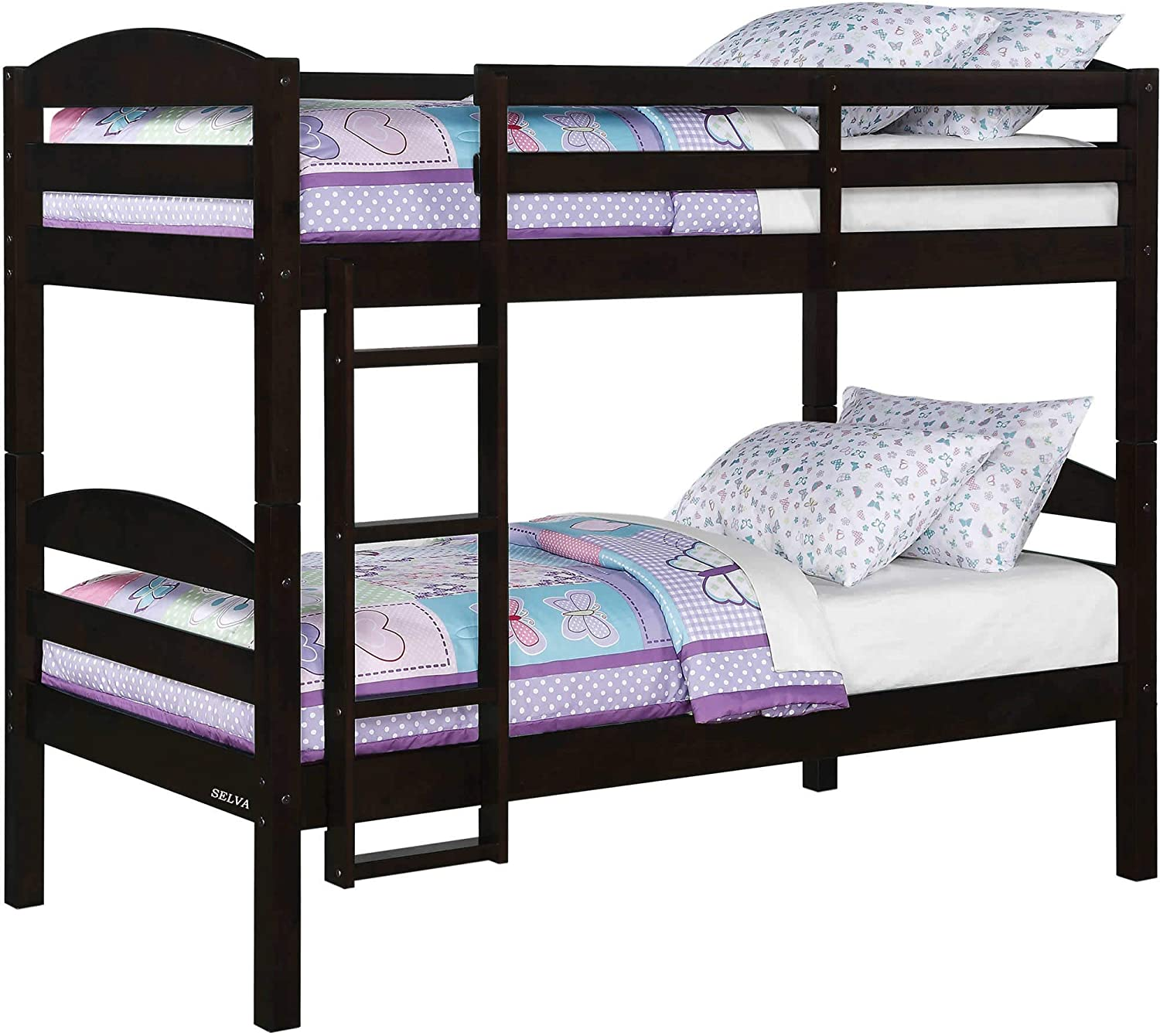 Amazon Com Selva Solid Wood Twin Over Twin Bunk Bed With Built In