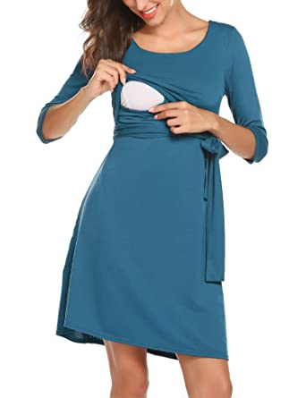 d8e213a8c9e Women s V-Neck 3 4 Sleeve Maternity Breastfeeding Nursing Dress with Belt  Dark Green