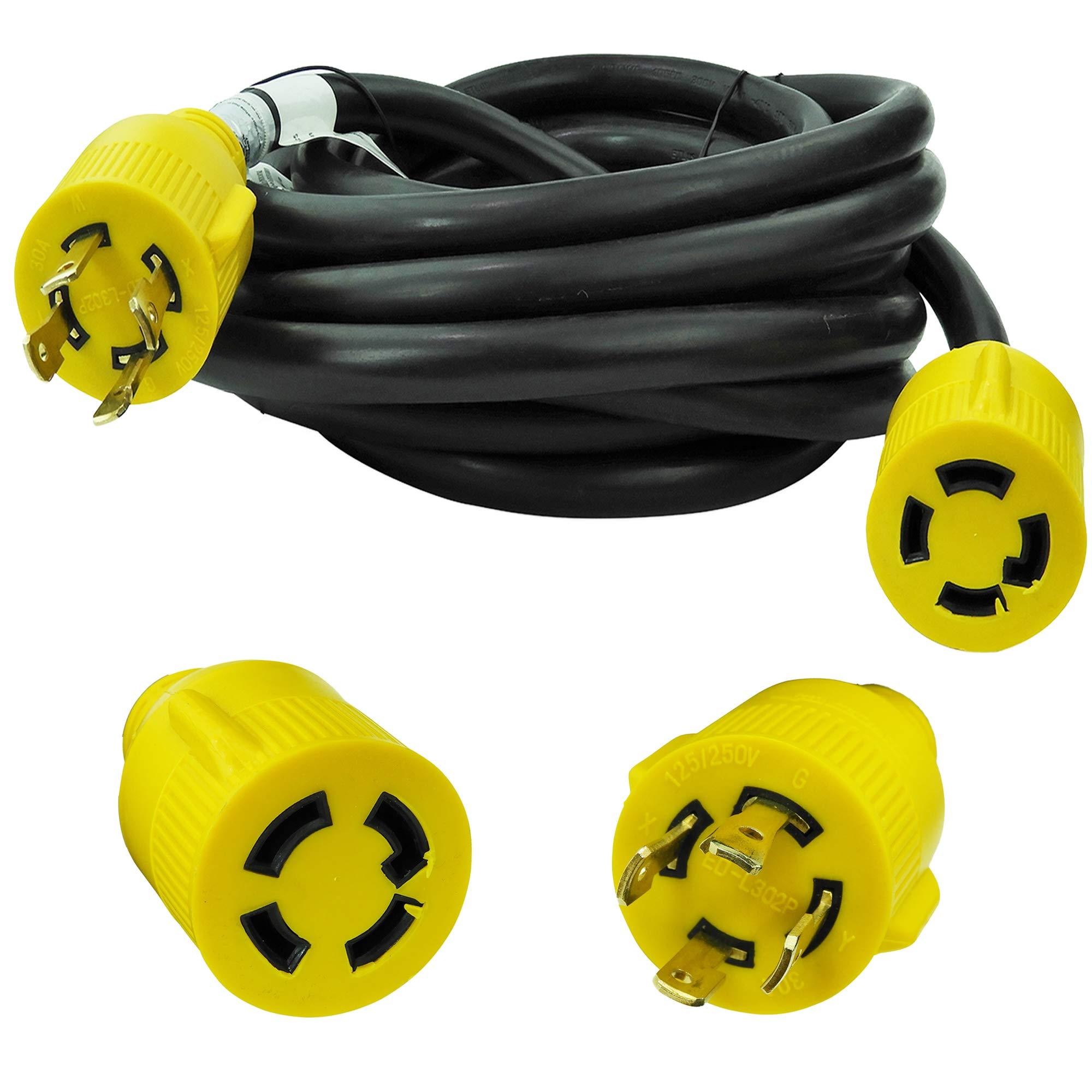 Leisure Cords 4-Prong 25 Feet 30 Amp Generator Cord, 10 Gauge Heavy Duty L14-30 Generator Power Cord Up to 7,500W (25-Feet)