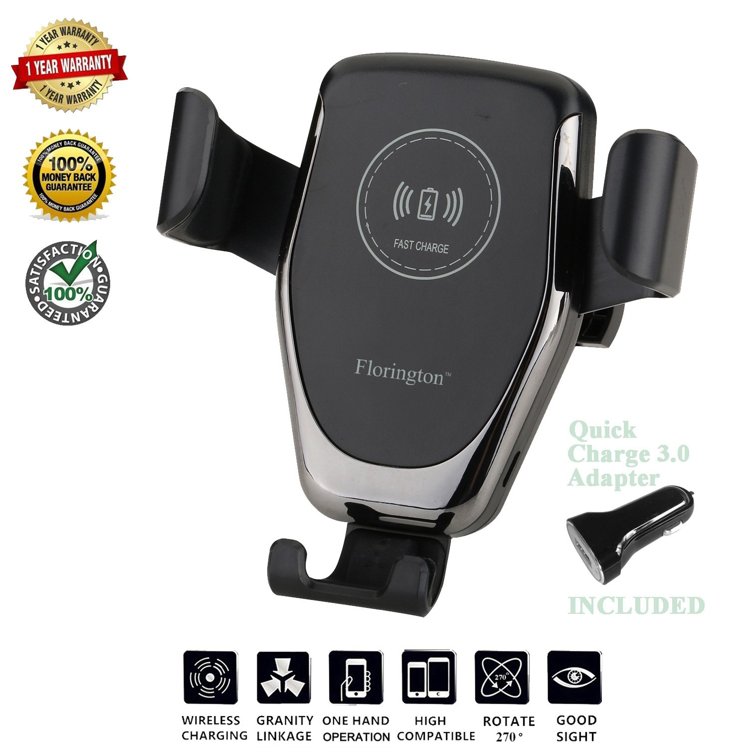 Florington Fast Qi Wireless Car Charger, Windshield/Air Vent 2-in-1 Mount Stand, 7.5W Apple iPhone X/8 Plus, 10W Samsung Galaxy S9/S9+/S8/S8+/S7, LG V30/V35/G7 Quick Charging Adapter by Florington (Image #1)