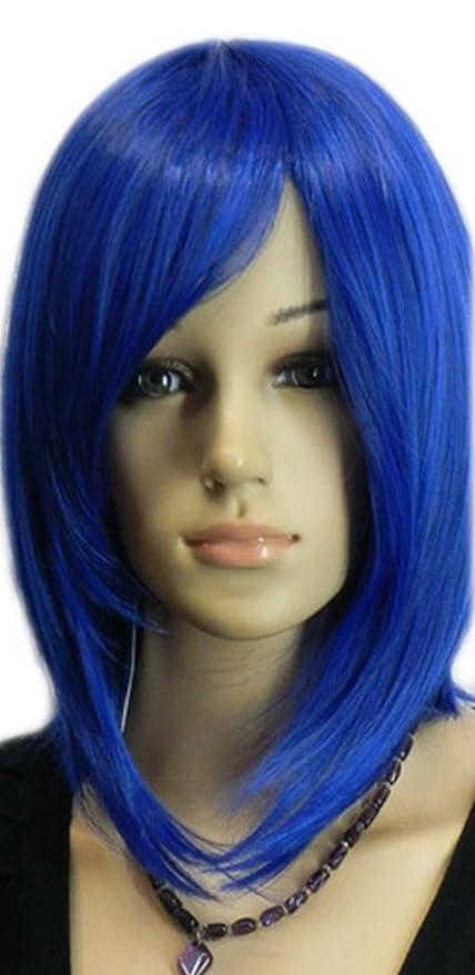 Longitud Corta Hombro Medio Bob Recta Azul Oscuro Peluca Llena Pelo Sintetico