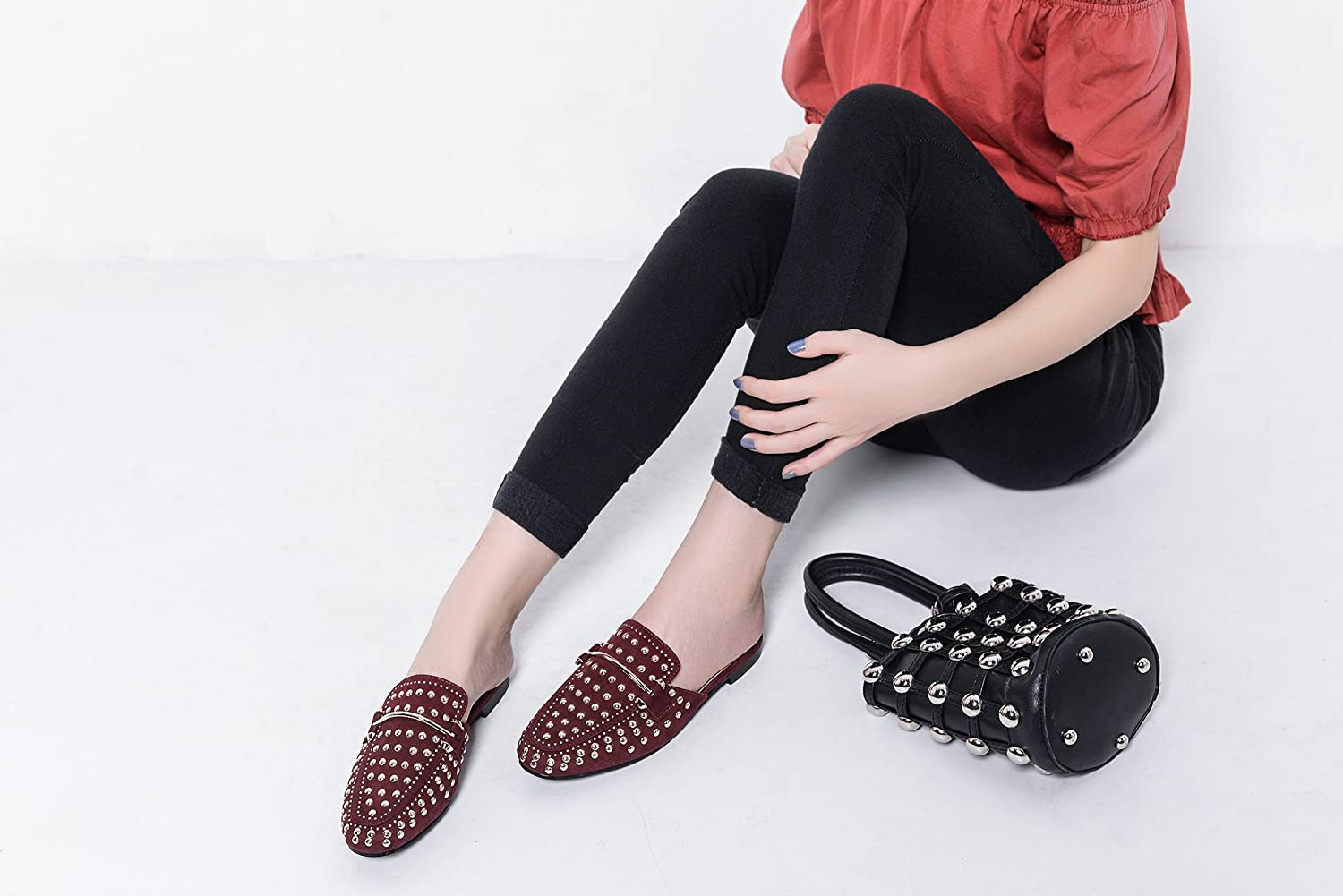 Mila Lady Rachel Womens Mules Slip On Loafer Spikes Stud Slides Flats Shoes