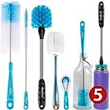 Holikme 5 Pack Bottle Brush Cleaning Set,Long Handle Bottle Cleaner for Washing Narrow Neck Beer Bottles, Wine Decanter…