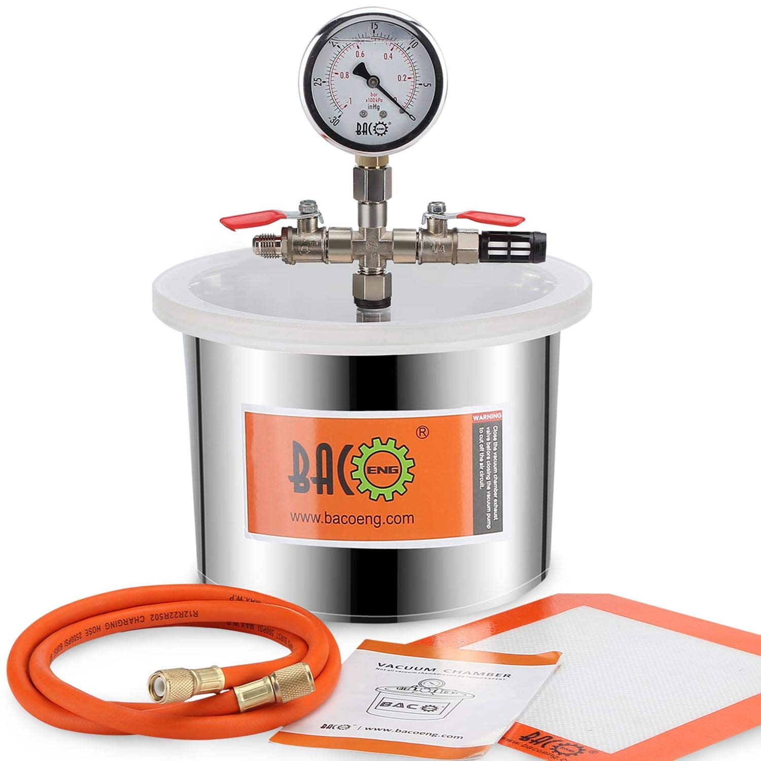 BACOENG 1.5 Gallon Stainless Steel Vacuum Chamber Silicone Kit for Degassing Resins, Silicone and Epoxies by BACOENG