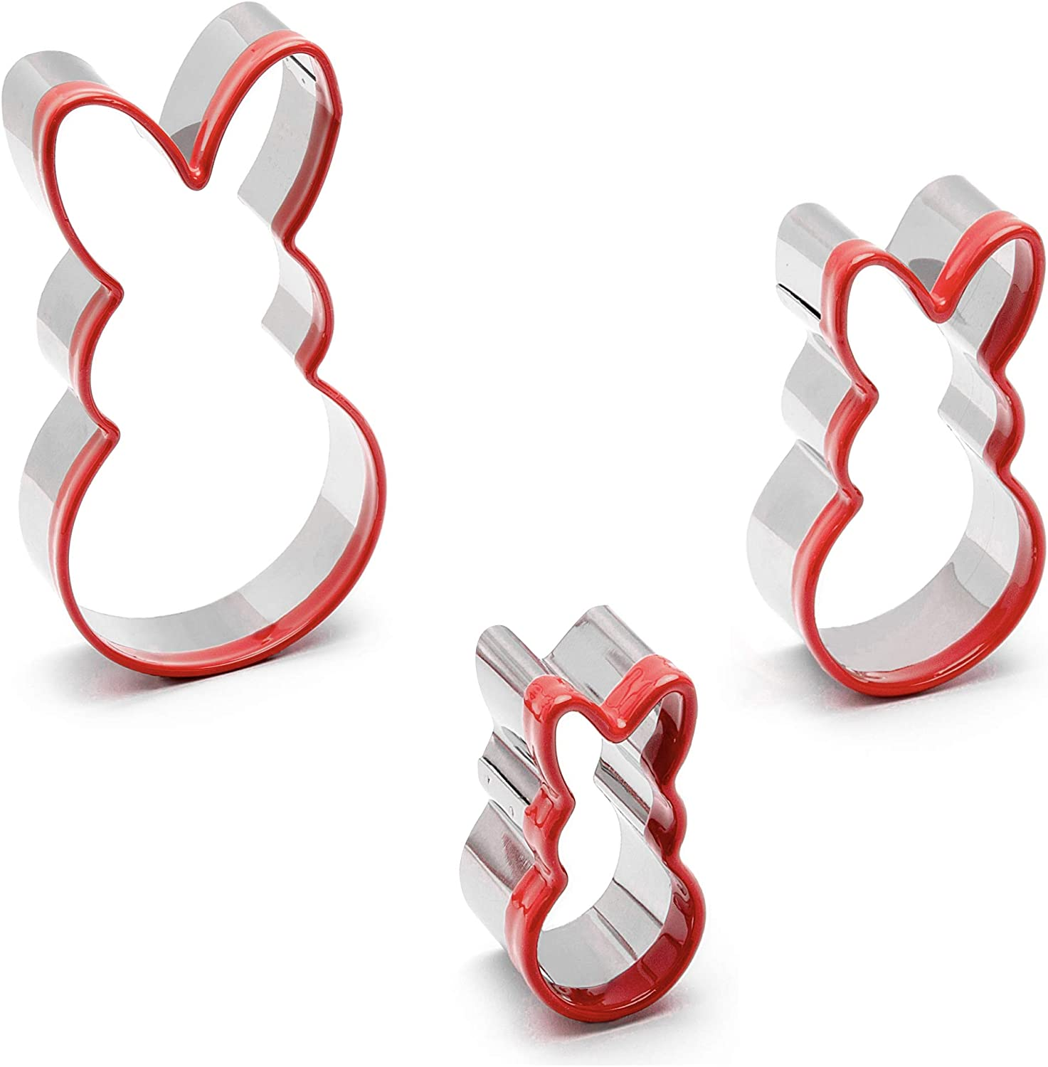 """3-Piece Easter Fun Cookie Cutters,Easter Bunny Cookie Cutter Set,5.1"""",3.2"""",2"""",Heavy Duty Food-Grade Stainless Steel,Unique Design with Protective Red Top PVC"""