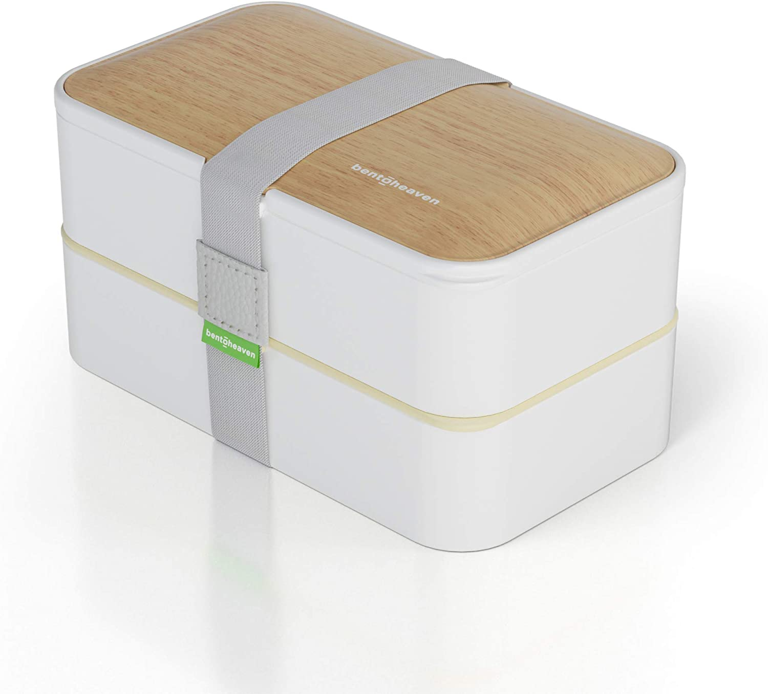 Bento Box for Adults & Kids in Cool Colors - Lunch Bag, Divider, Cutlery, Fun Lunch Notes Included - BPA-free, Leakproof Japanese Lunch Box - Eco-friendly, Hassle-free (Bamboo White)