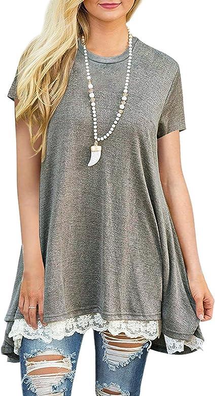 480669437e0 Calvin & Sally Women Lace Short Sleeve Tunic Top Blouse A-Line Dress (Grey