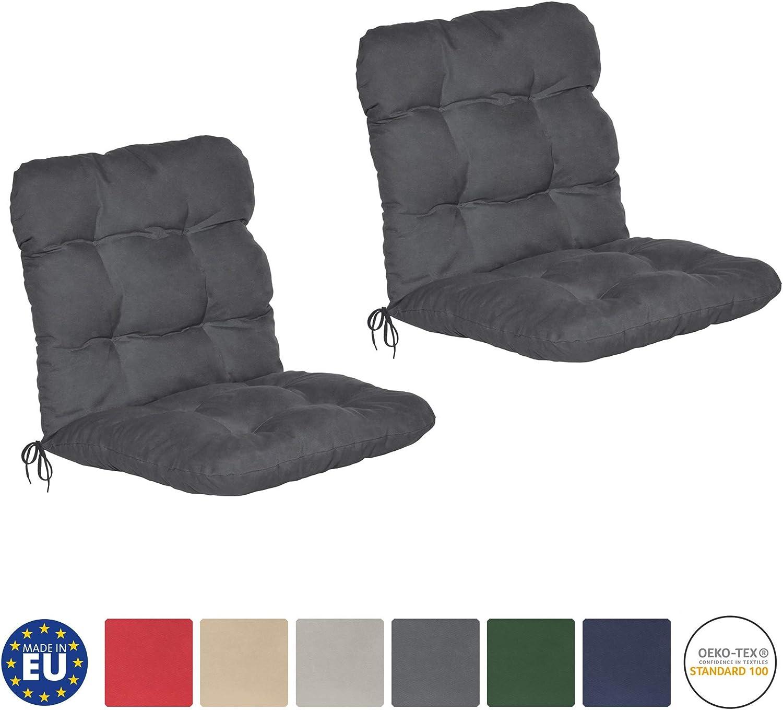 Ideale Anche per spiaggine Comoda e soffice Imbottitura Grigio Grafite Beautissu Set di 2 Cuscini per sedie da Giardino Flair NL 100x50x8cm