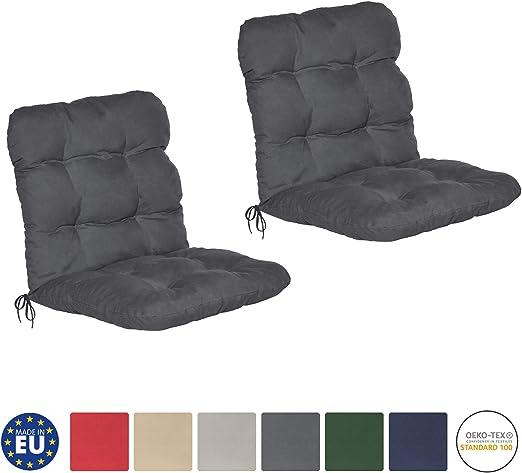 Beautissu Set de 2 Cojines para sillas de balcón Flair NL - Cojín para Asientos Exteriores con Respaldo bajo - 120x50x8 cm - Gris Grafito: Amazon.es: Jardín