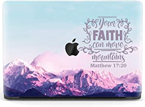 Mertak Hard Case for Apple MacBook Pro 15 2020 Air 13 inch Mac 16 Retina 12 11 2019 2018 2017 Matthew 17:20 Mountains Quote Inspirational Bible Verse Laptop Plastic Clear Touch Bar Cover Faith