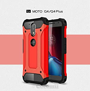Cocomii Shockproof Dustproof Motorola Moto G4/G4 Plus Case, Slim Thin Matte Hard Plastic & Soft TPU Silicone Dustproof Reinforced Drop Protection Bumper Cover for Motorola Moto G4/G4 Plus (Red)