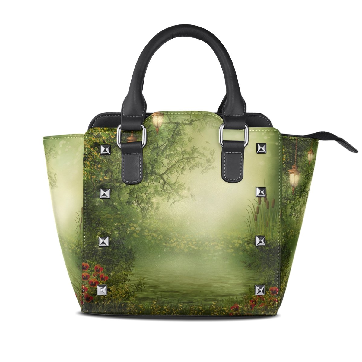 Jennifer Amazing Forest And Lake PU Leather Top-Handle Handbags Single-Shoulder Tote Crossbody Bag Messenger Bags For Women