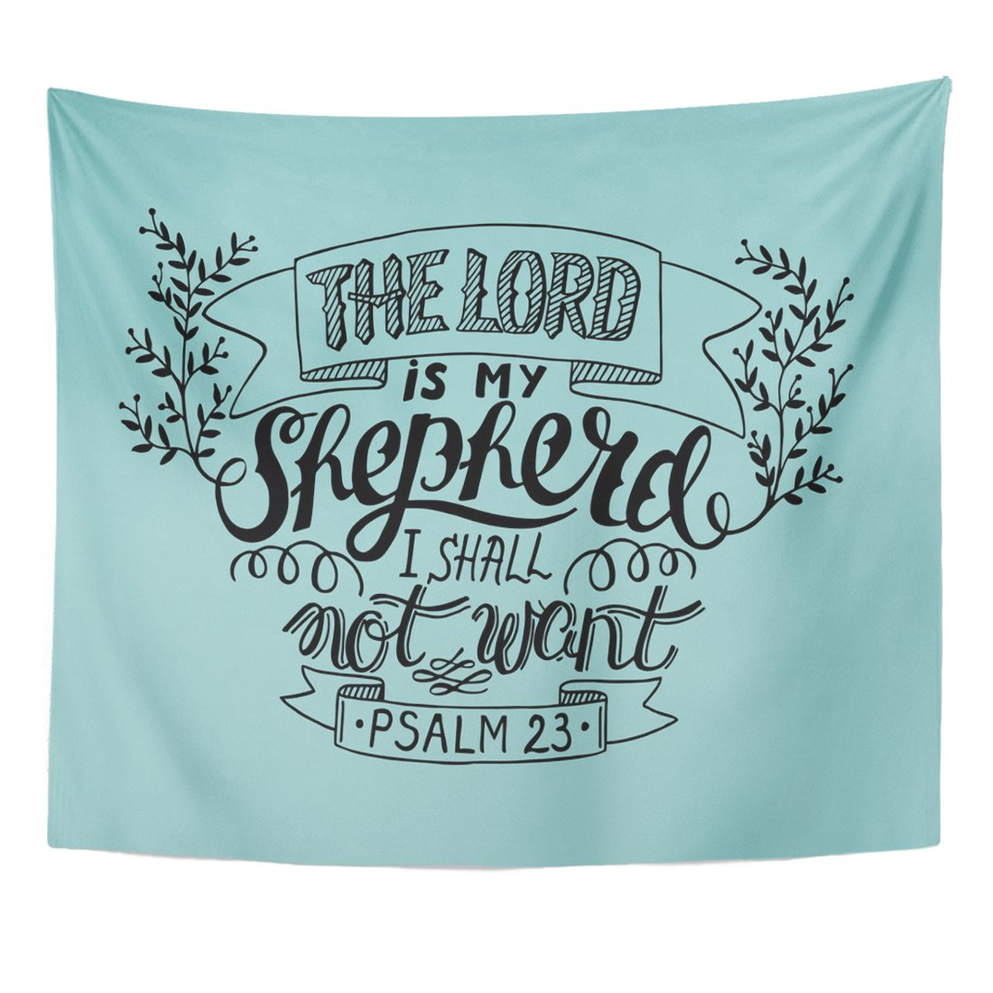 TOMPOP Tapestry Believe Hand Lettering the Lord Is My Shepherd I Shall Not Want Psalm Biblical Christian Bell Bible Home Decor Wall Hanging for Living Room Bedroom Dorm 50x60 Inches by TOMPOP
