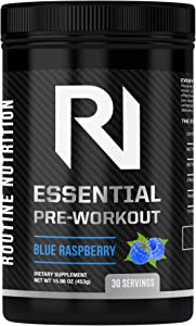 Routine Nutrition Essential Pre Workout – Natural Essential Ingredients, Clean Energy boost- Citrulline Malate For Pump, Beta Alanine, Betaine, 200mg Caffeine, Zero Sugar (30 Servings, Blue Raspberry)