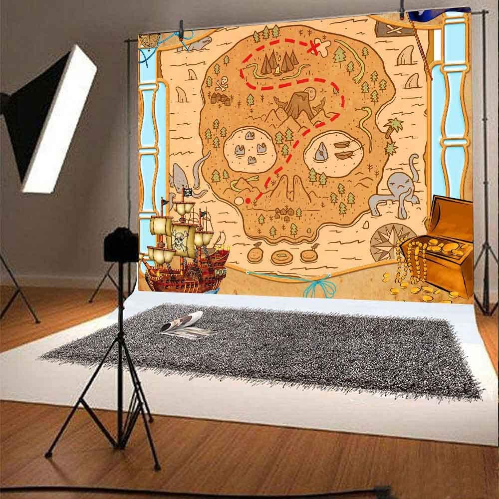 FHZON 10x7ft Adventure Map Backdrop Sea Treasure Hunt Party Decoration Background for Photography Banner Wallpaper Photo Studio Booth Props LSFH660