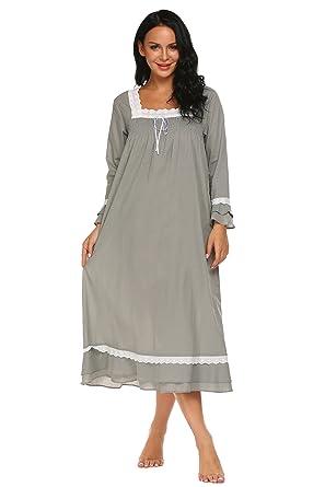 ekaouer Sleepwear Cotton lace Trim Victorian Sleep Dress Long ...