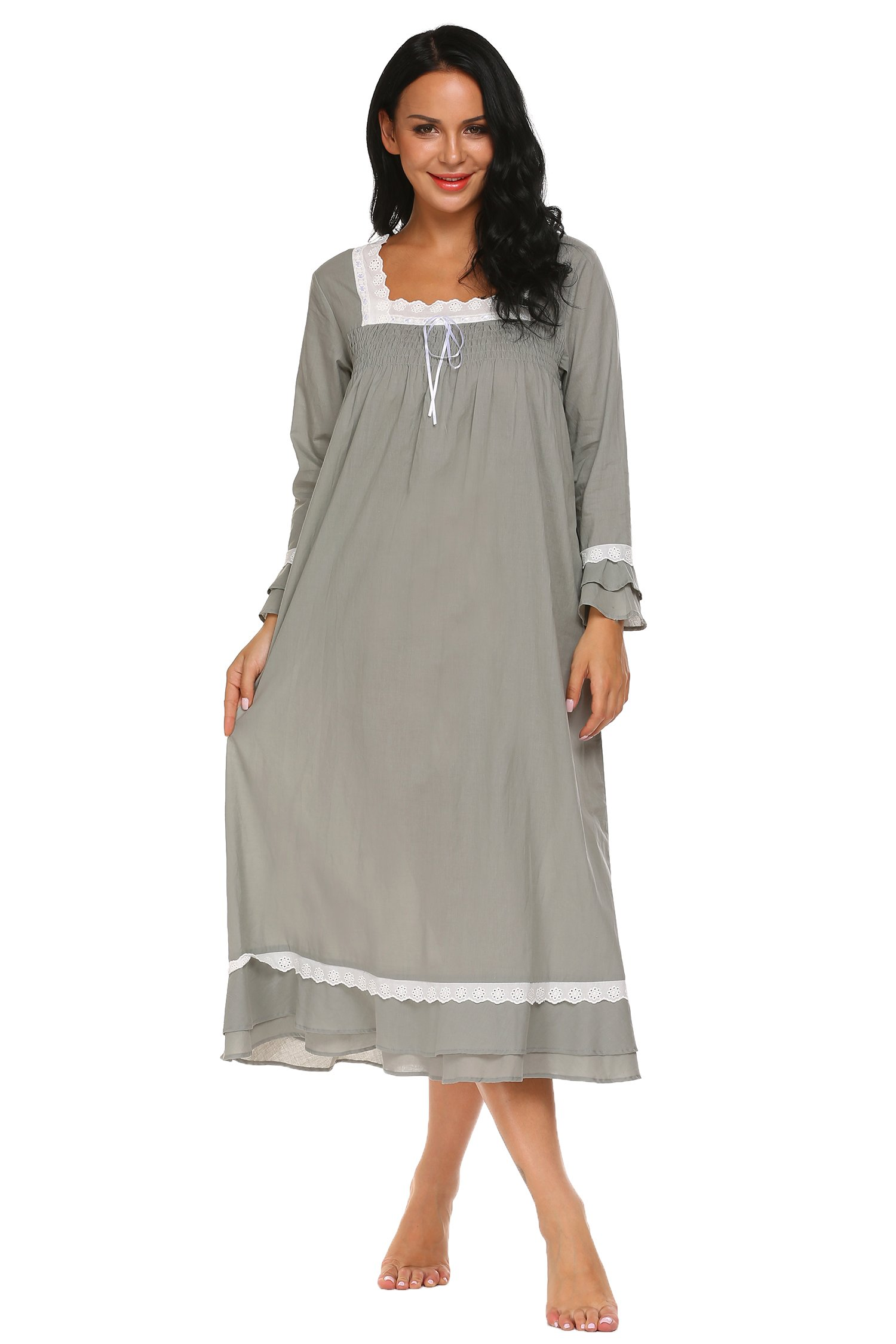 1a904233fdf Ekouaer Women's Nightgowns Lingerie Cute Nightwear Cotton Sleepwear Lace  Chemise Babydoll Pajamas, 7105grey, XX-Large