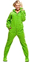 Jumpin Jammerz Green Diva Dots Hoodie Footed Pajamas Onesie