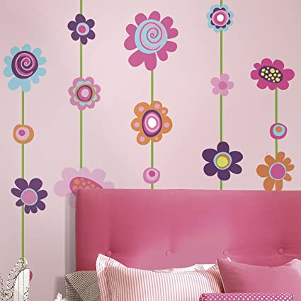 Roommates rmk1622gm flower stripe peel stick giant wall decal