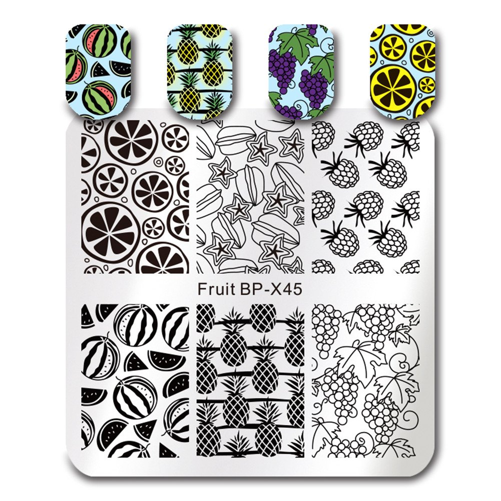 BORN PRETTY 7Pcs Nail Art Stamping Template Flower Fruit Summer Manicure Print DIY Image Plate with Stamper Kit by Born Pretty (Image #7)