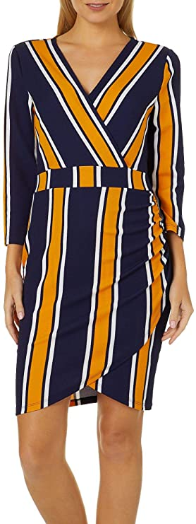 Amazon.com  Almost Famous Juniors Mixed Stripe Faux-Wrap Dress  Clothing 6509f02a9