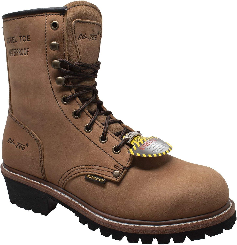 AdTec 9 in Mens Super Logger Crazy Horse Leather Waterproof Boots, Brown - Steel Toe, Utility Footwear, Oil Resistant Lug Sole