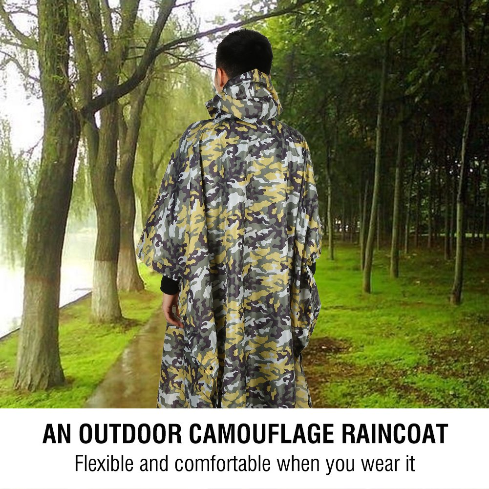 73e23de205a2e Amazon.com : Camouflage Rain Coat For Men Outdoor Waterproof Multi-Funvtion Military  Camo Raincoat Jacket Cover Rainwear Mens Boys Camo Shelter with Hoods ...