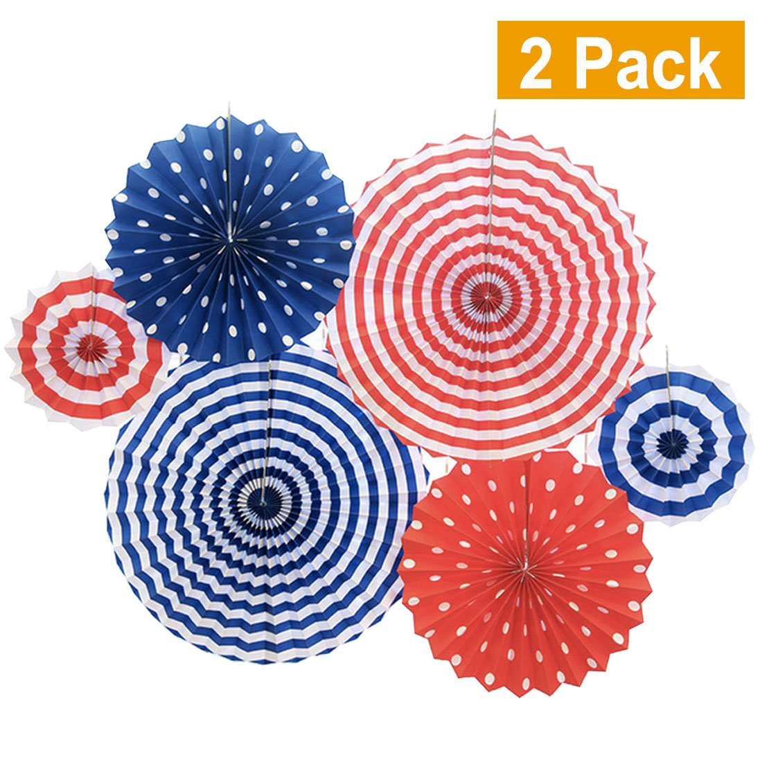 Set of 12 Patriotic Party/4th of July Colorful Hanging Paper Fans Rosettes Party Decorations Fiesta Party Supplies Photo Props for Wedding Birthday Baby Shower Event, Red/White/Blue(Style 2)