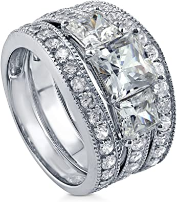 BERRICLE Rhodium Plated Sterling Silver Round Cubic Zirconia CZ 3-Stone Anniversary Engagement Wedding Ring Set 2.22 CTW