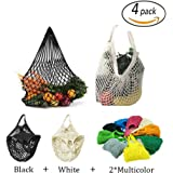 4 Pack Reusable Mesh Cotton Net Market String Bag Organizer (Multipurpose, Portable Shopping Tote Handbag), for Grocery Shopping&Outdoor Packing, Storage, Fruit, Vegetable (Black+White+2 Mixed Colors)