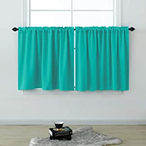 Turquoise Short Curtains 30 Inches Long for Bathroom Window Set of 2 Panels Blackout Room Darkening Rod Pocket Cafe Curtains Tier Small Cabinet Curtains for Kitchen Laundry Room 52x30 Inch Length