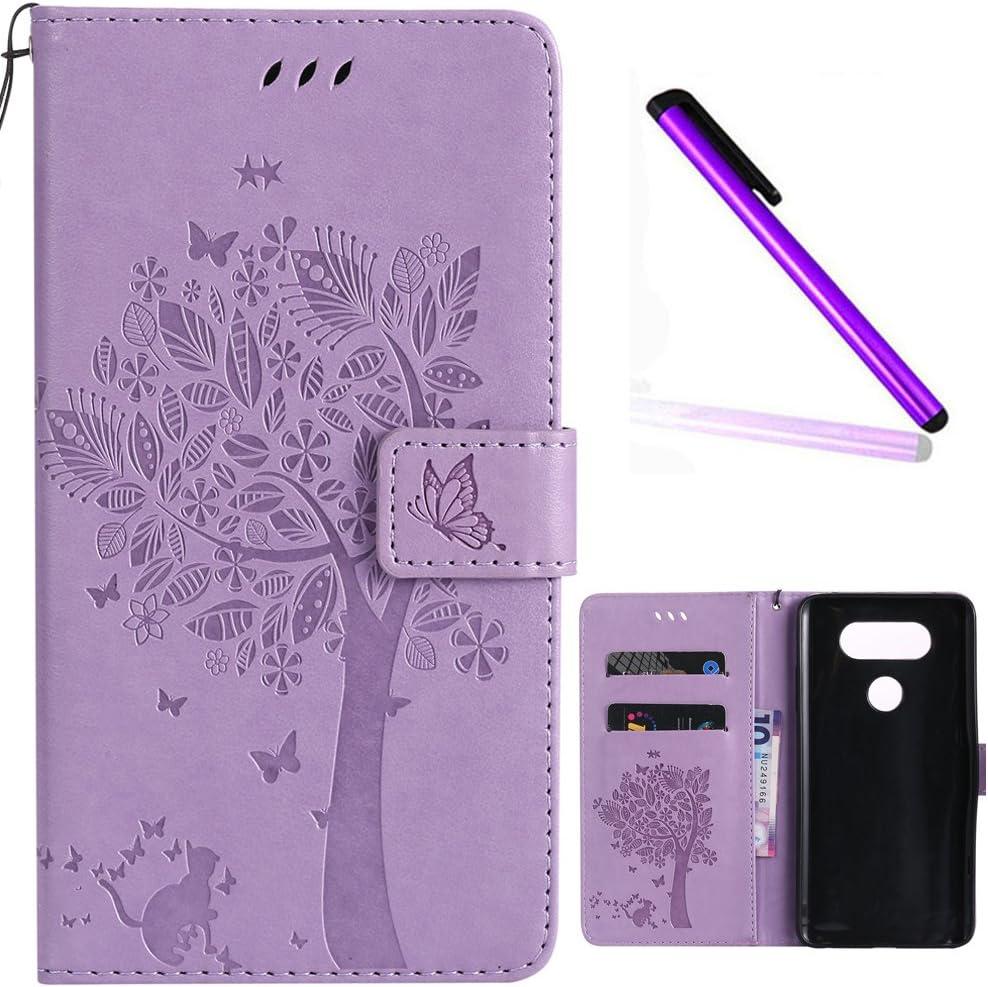 LG V20 Cover EMAXELER Diamond Embossed Stylish Kickstand Case Credit Cards Slot Cash Pockets PU Leather Flip Wallet Case For LG V20 H990N Wish Tree Light Purple
