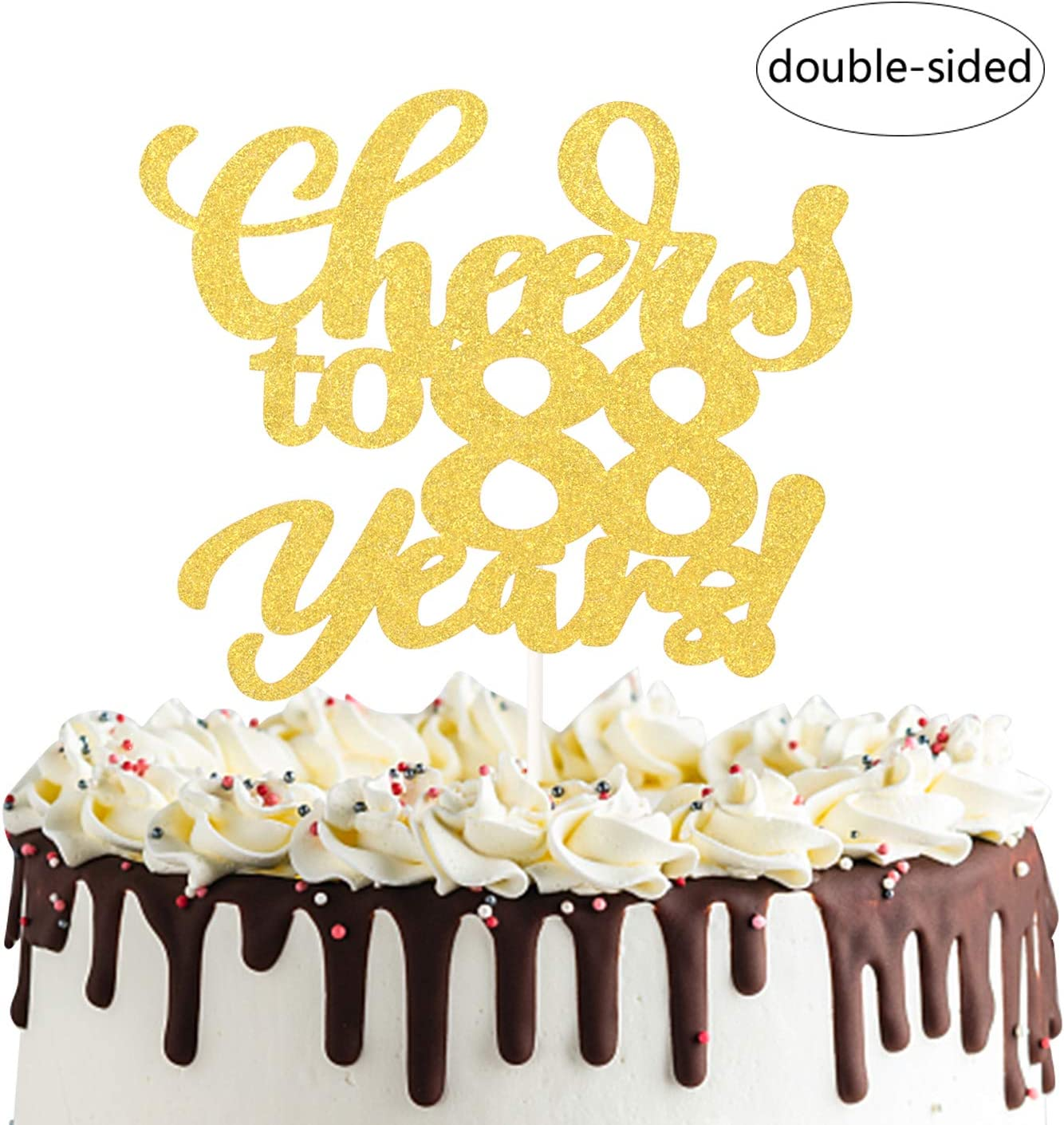 Cheers to 15 Years Old Cake Decor 15th Birthday//Anniversary Party Decoration Supplies Gold Glitter Happy 15th Birthday Cake Topper