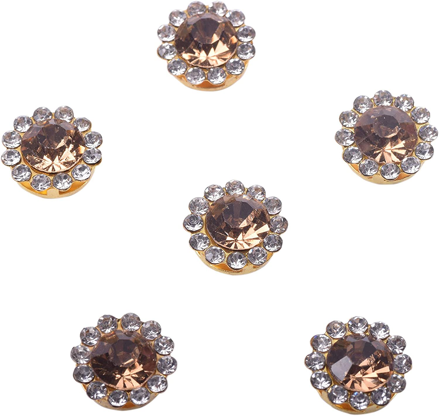 Shoes KAOYOO 100Pcs Sun Flower Shape Crystal Rhinestone Buttons Golden Plated Brass Base Sew on Buttons Ideal for Clothing Bags Light Purple Headpieces,Wedding Dress