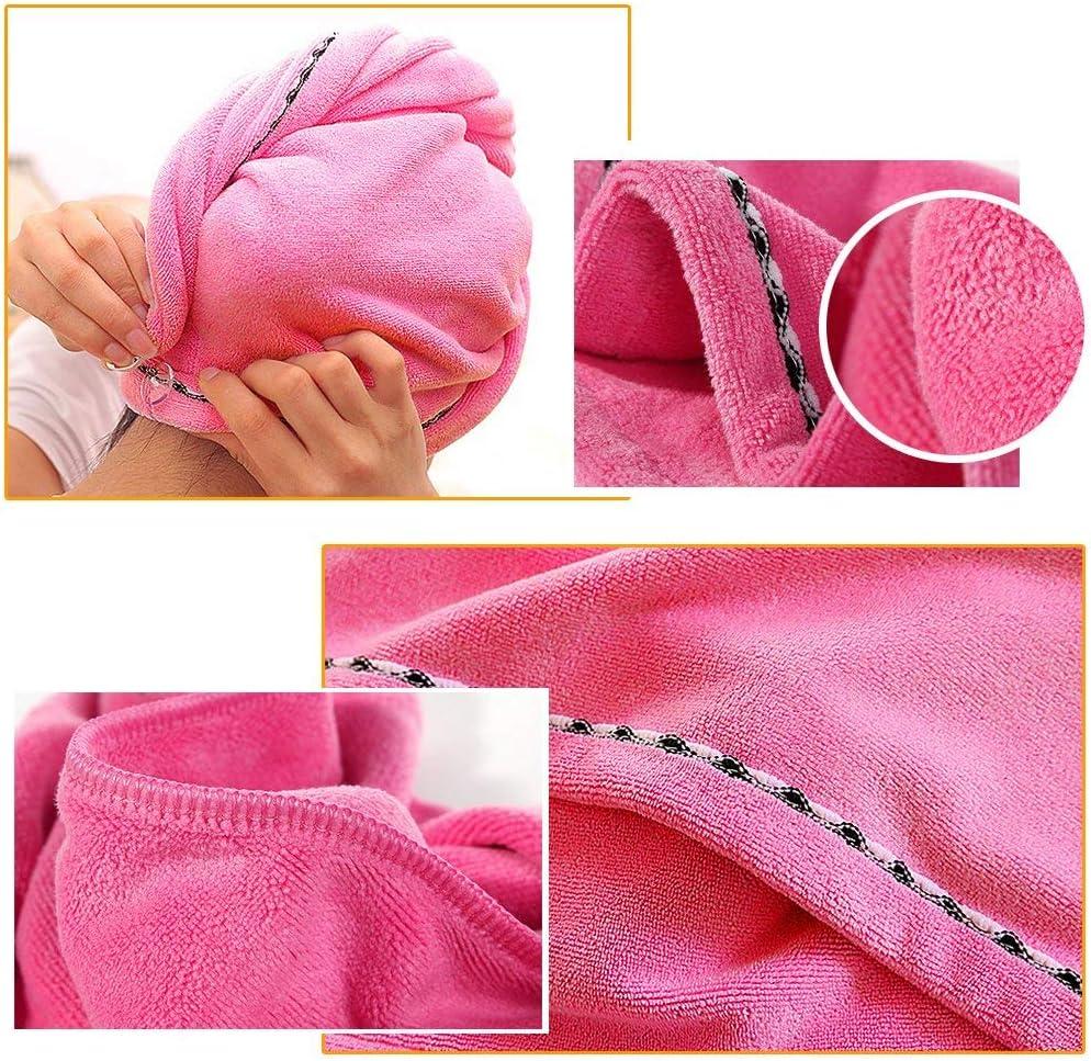 rose fonc/é Serviette Turban pour cheveux secs /à s/échage rapide pour femme en fibre super fine