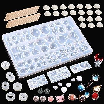 Litthing 10 formas Molde Silicona con 20 juegos de dedos + 20 varillas de madera Resina Herramientas de Producción para Collar Pendiente Fabricación de ...