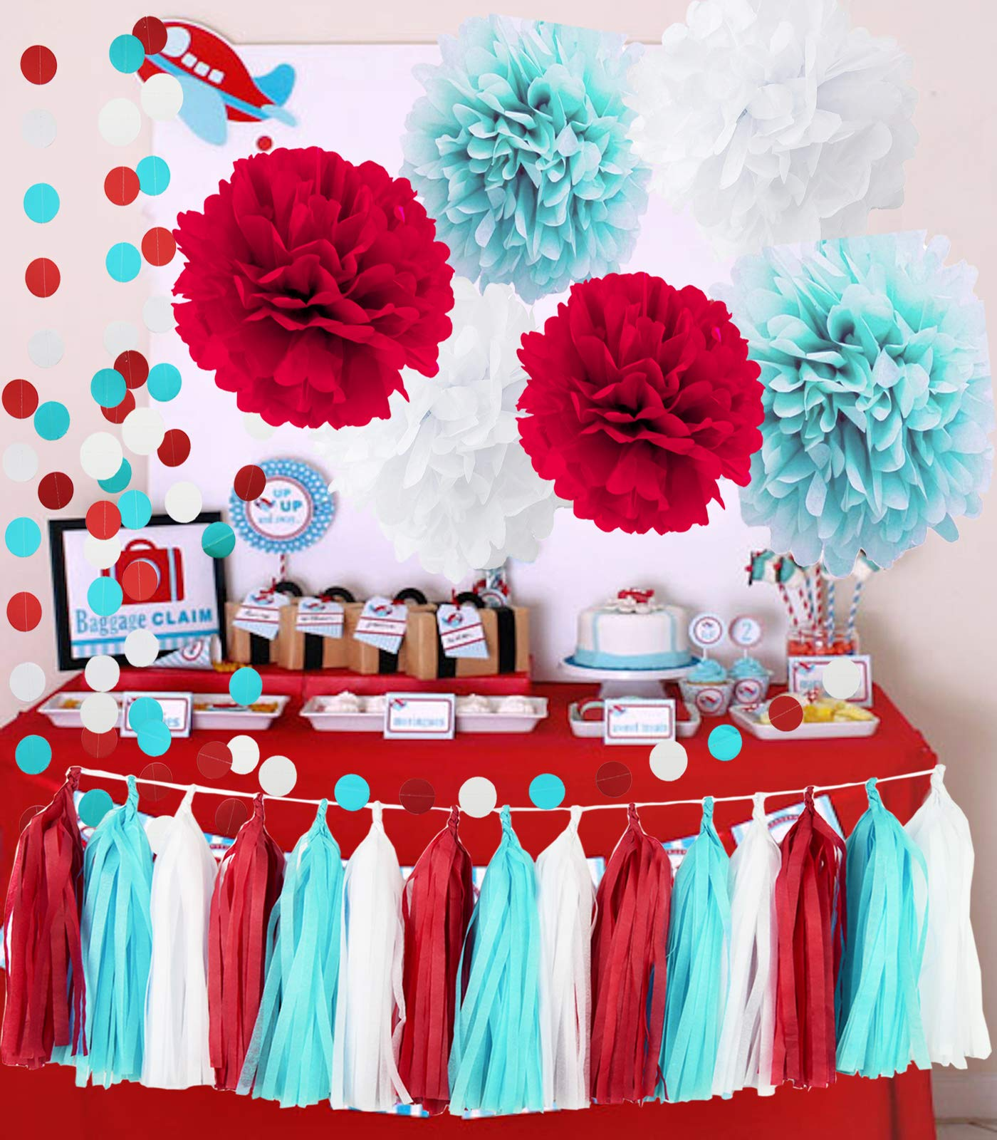 Bridal Shower Decorations Aqua Blue White Red Tissue Pom Pom Garland for Nautical Baby Shower Decorations/Aqua Red Wedding /Dr Seuss Cat in The Hat 1st Birthday Party Supplies/ Airplane Party Decor by Qian's Party
